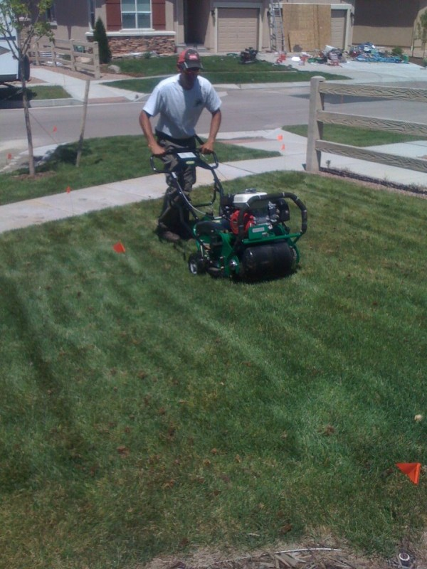 Fall lawn aeration in Brookfield, WI